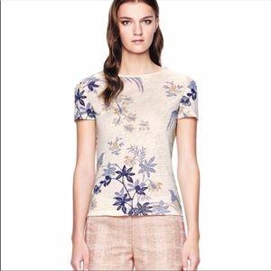 Tory Burch Gwyneth Linen Tee Floral Cream Top XS